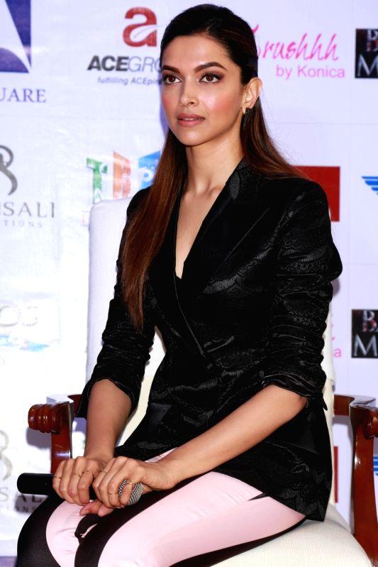"Actress Deepika Padukone during a programme organised to promote her upcoming film ""Bajirao Mastani"" in New Delhi, on Dec 12, 2015. - Deepika Padukone"