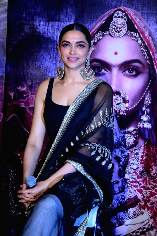 "Actress Deepika Padukone during the 3D trailer launch of her upcoming film ""Padmavati"" in Mumbai on Oct 31, 2017.(Image Source: IANS)"