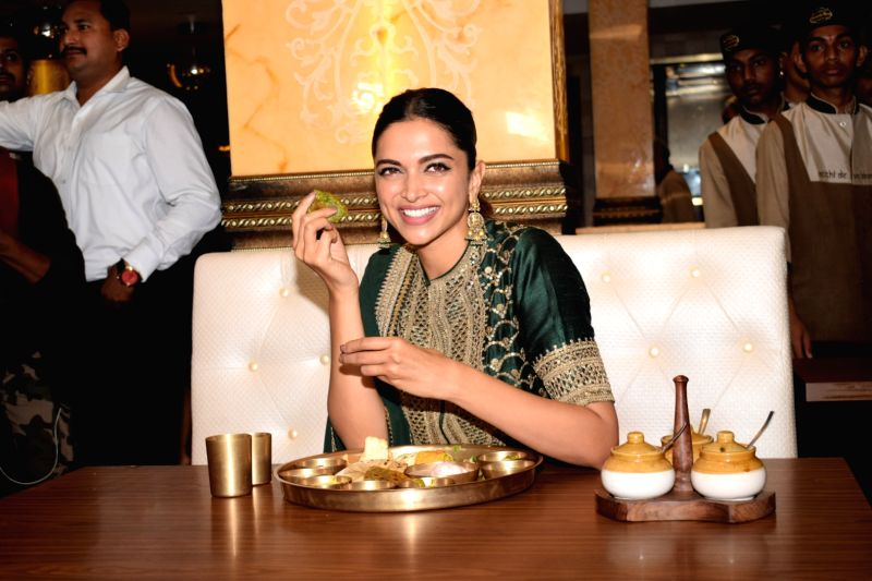"Actress Deepika Padukone feasts over a Rajasthani thali in an attemt to celebrate the success of her recently released film ""Padmaavat""; at Maharaja Bhog in Mumbai on Jan 27, 2018.  ... - Deepika Padukone"