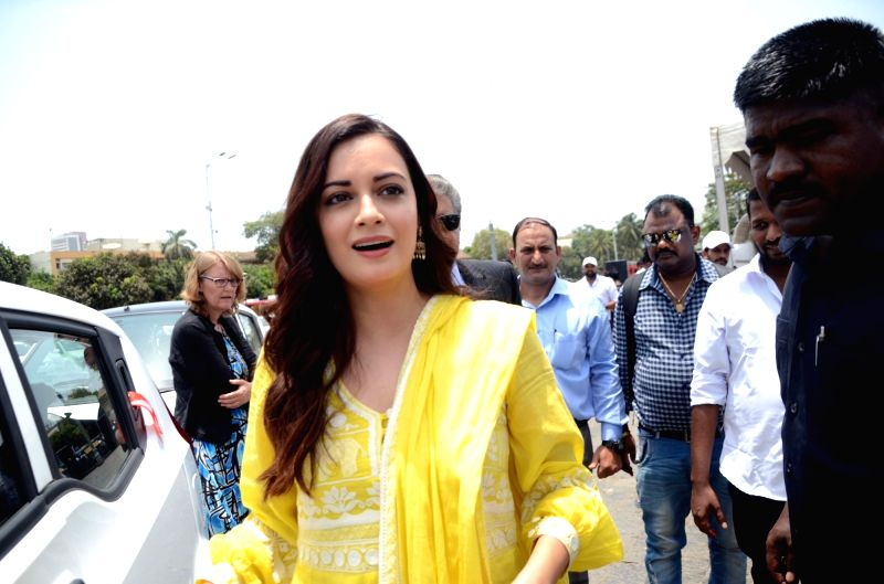 Actress Dia Mirza at the flagging off ceremony of Electric Vehicles at the launch of a service where all-electric city car will be available on rent for residents and visitors through the ... - Dia Mirza