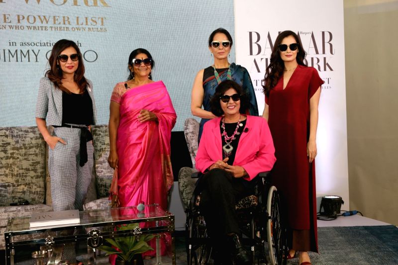 "Actress Dia Mirza, Designer Anita Dongre, social activist Chetna Sinha and Indian para-athlete Deepa Mali at the launch of coffee-table book ""BAZAAR AT WORK - The Power List"" in ... - Dia Mirza and Chetna Sinha"