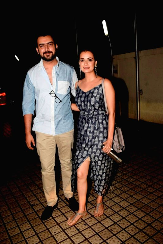 Actress Dia Mirza with her husband Sahil Sangha seen at a cinema theatre in Juhu, Mumbai on July 13, 2018. - Dia Mirza