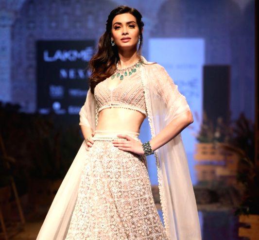Mumbai: Actress Diana Penty showcases the creation of fashion designer Ridhi Mehra on day 3 of the Lakme Fashion Week Winter/Festive 2019, in Mumbai on Aug 23, 2019.