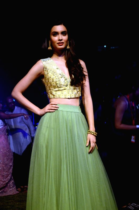 Actress Diana Penty walks the ramp for fashion designer Anita Dongre during the Lakme Fashion Week Summer/Resort 2018 in Mumbai on Jan 31, 2018. - Diana Penty