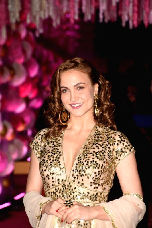 Actress Elli Avram at Azhar Morani and Tanya Seth's wedding reception in Mumbai on Feb. 9, 2019. - Elli Avram and Tanya Seth
