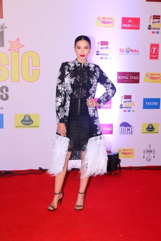 "Actress Gauahar Khan at the red carpet of ""10th Mirchi Music Awards"" in Mumbai on Jan 28, 2018. - Gauahar Khan"