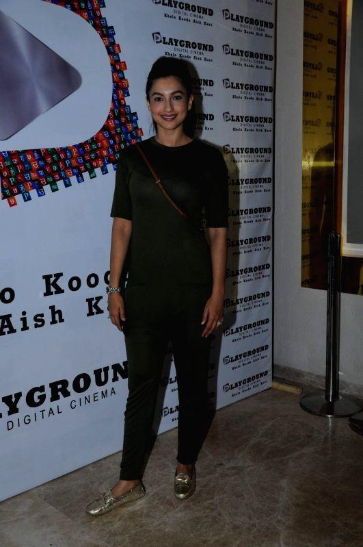 Actress  Gauhar Khan during the screening of film Peanut Butter in Mumbai on March 6, 2017. - Gauhar Khan