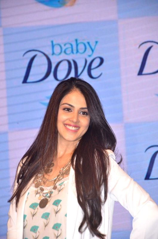 Actress Genelia Deshmukh during the launch of a product in Mumbai on Oct 4, 2016. - Genelia Deshmukh