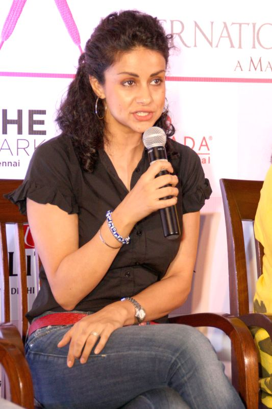 Actress Gul Panag during a press conference to launch 2nd Pinkathon 2014 in New Delhi on July 31, 2014. - Gul Panag