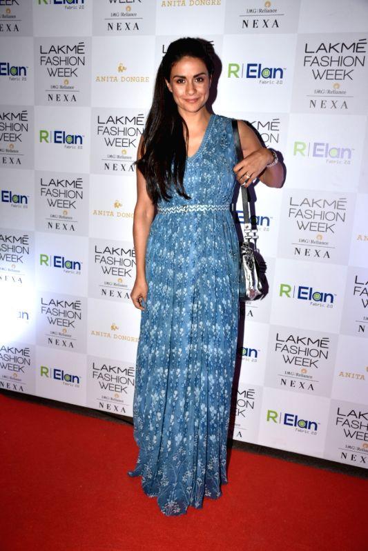 Actress Gul Panag during the Lakme Fashion Week Summer/Resort 2018 in Mumbai on Jan 31, 2018. - Gul Panag