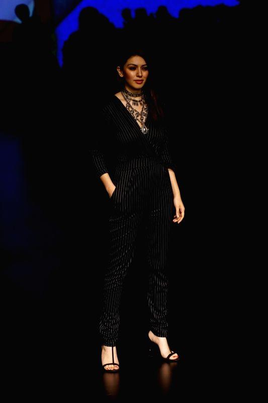 Actress Hansika Motwani during the Lakme Fashion Week Summer/Resort 2018 in Mumbai on Jan 31, 2018. - Hansika Motwani