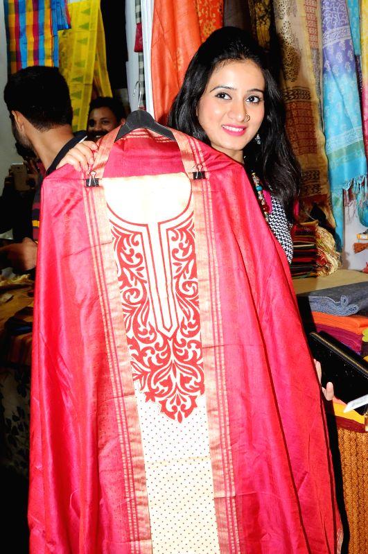 Actress Harshika Poonacha during inauguration of National Silk Expo in Bangalore on July 17, 2014. - Harshika Poonacha