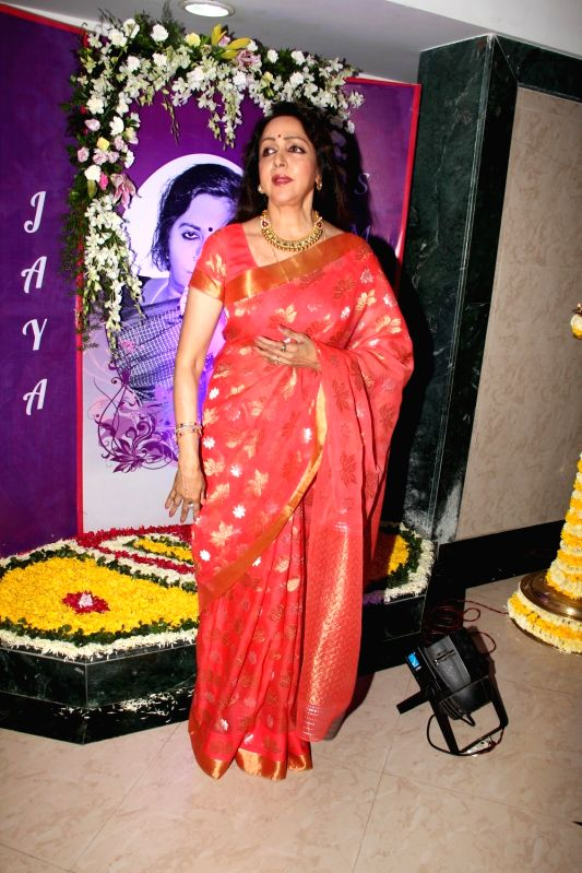 Actress Hema Malini during the ``Jaya Smriti- a dance tribute`` to her late mother Jaya Chakravarthi in Mumbai, on November 15, 2015.