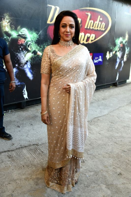 "Actress Hema Malini during the reality television show ""Dance India Dance"" in Mumbai on Jan 23, 2018. - Hema Malini"