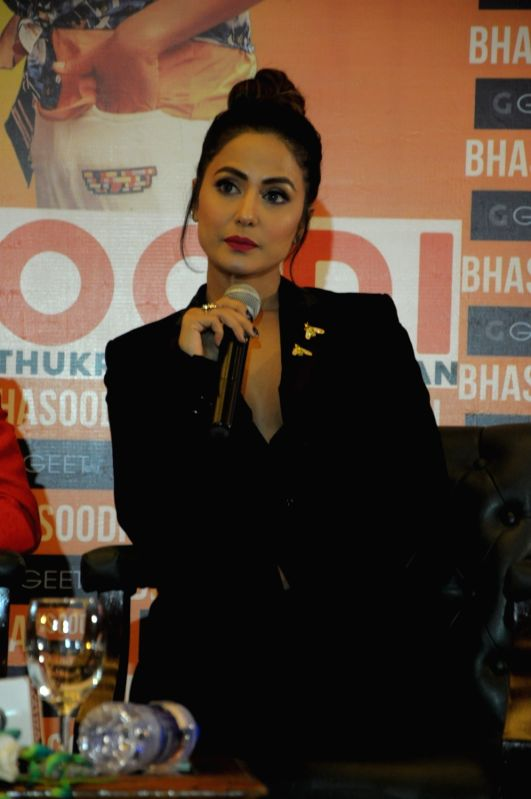"""Actress Hina Khan during the launch of her song """"Bhasoodi"""" in New Delhi on July 17, 2018. - Hina Khan"""