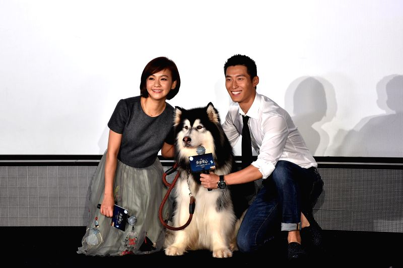 "Actress Ivy Chen and actor Dou Xiao pose for a group photo with a dog who starred in the film ""Time to Love"" during the premiere in Beijing, capital of ... - Ivy Chen"