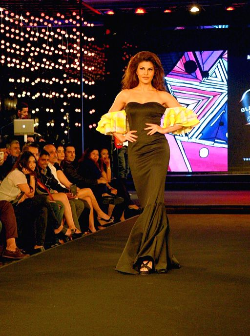 Actress Jacqueline Fernandes walks the ramp at the Blenders Pride fashion show in Bengaluru, on Nov 1, 2015. - Jacqueline Fernandes