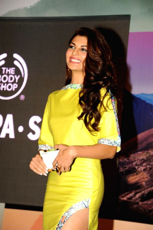 Actress Jacqueline Fernandez during the launch of The Body Shop's new range of products range at Hotel Taj Lands End in Mumbai on Dec 4, 2015.
