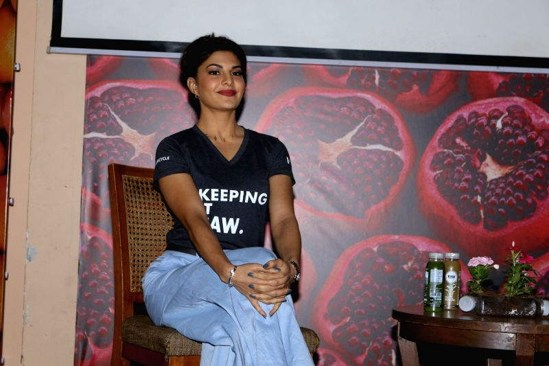 Actress Jacqueline Fernandez during the launch of Raw Pressery juice brand in Mumbai on April 17, 2017. - Jacqueline Fernandez