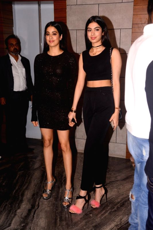 """Actress Janhvi Kapoor along with her sister Khushi Kapoor during the success party of her film """"Dhadak"""" in Mumbai on Aug 9, 2018. - Janhvi Kapoor and Khushi Kapoor"""