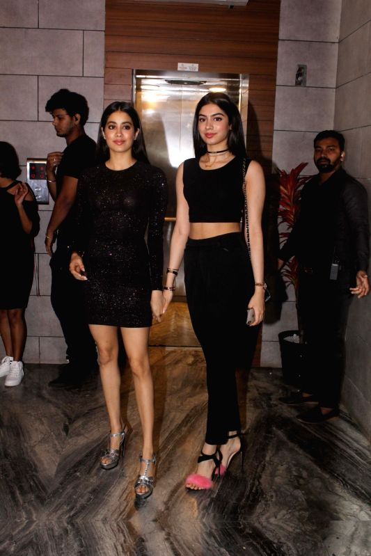 "Actress Janhvi Kapoor along with her sister Khushi Kapoor during the success party of her film ""Dhadak"" in Mumbai on Aug 9, 2018. - Janhvi Kapoor and Khushi Kapoor"