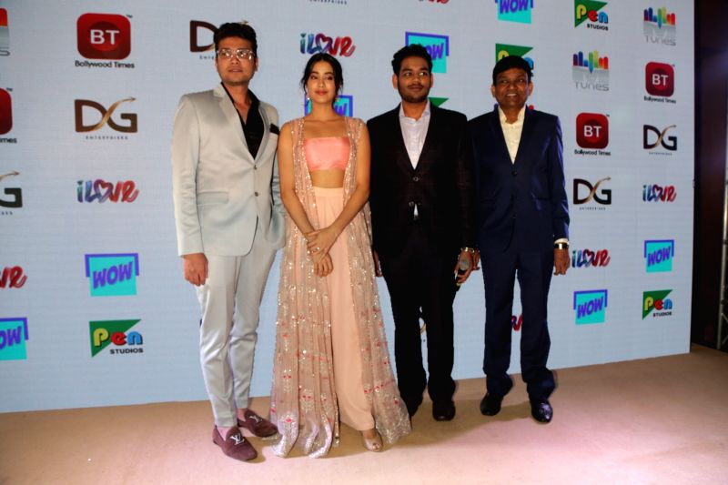 Actress Janhvi Kapoor and producers Jayantilal Gada and Dhaval Gada at the launch of a channel, in New Delhi on July 18, 208. - Janhvi Kapoor