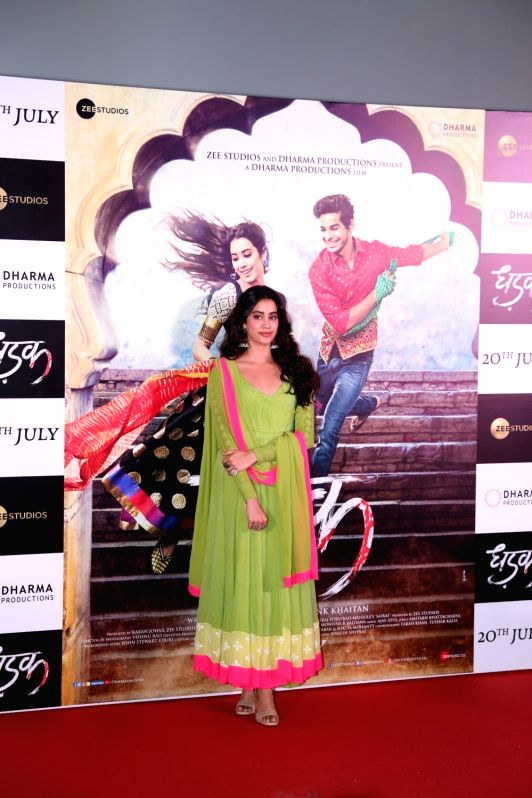 "Actress Janhvi Kapoor at the trailer launch of upcoming film ""Dhadak"" in Mumbai, on June 11, 2018. - Janhvi Kapoor"