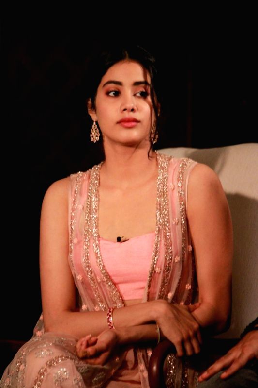 "Actress Janhvi Kapoor during a press meet of her upcoming film ""Dhadak"" in New Delhi on July 18, 2018. - Janhvi Kapoor"