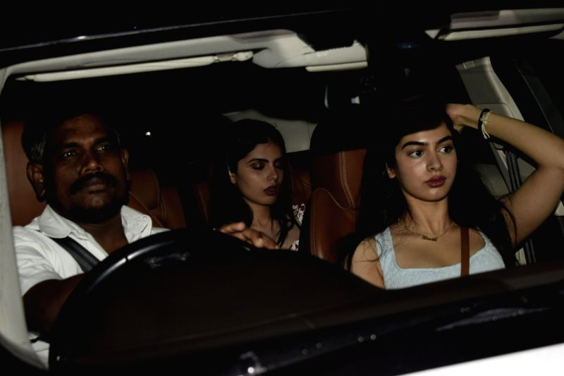 "Actress Janhvi Kapoor's sister Khushi Kapoor at the special screening of upcoming film ""Dhadak"" in Mumbai on July 18, 2018. - Janhvi Kapoor and Khushi Kapoor"