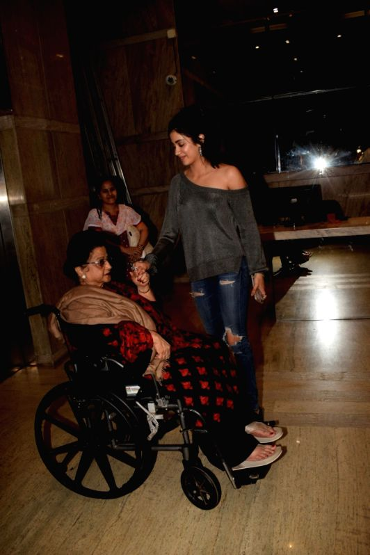 "Actress Janhvi Kapoor with her grand mother Nirmal Kapoor at the special screening of film ""Dhadak"" in Mumbai on July 19, 2018. - Janhvi Kapoor and Nirmal Kapoor"