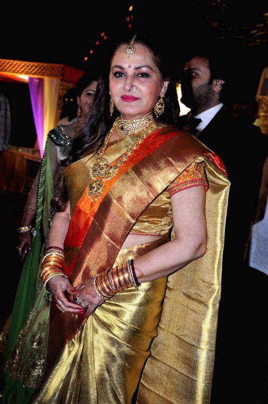 Actress Jayaprada during the wedding reception of actress Jayaprada`s son Siddharth with Pravallika Reddy in Hyderabad. - Pravallika Reddy