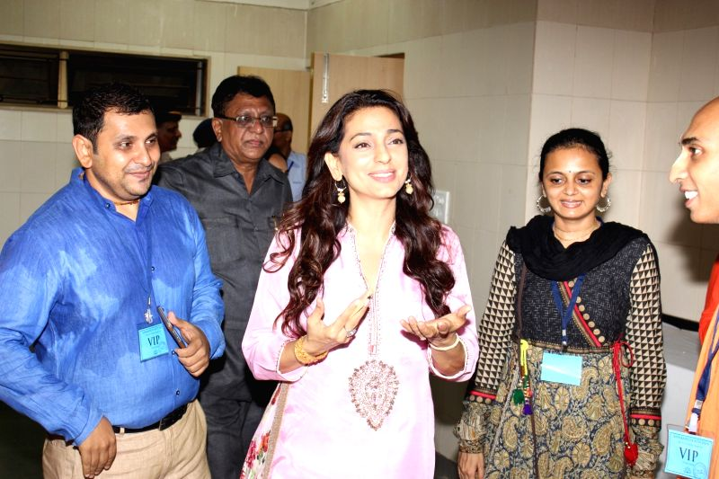 Actress Juhi Chawla during the inauguration ceremony of food canteen in Cooper hospital in Mumbai on May 5, 2016. - Juhi Chawla