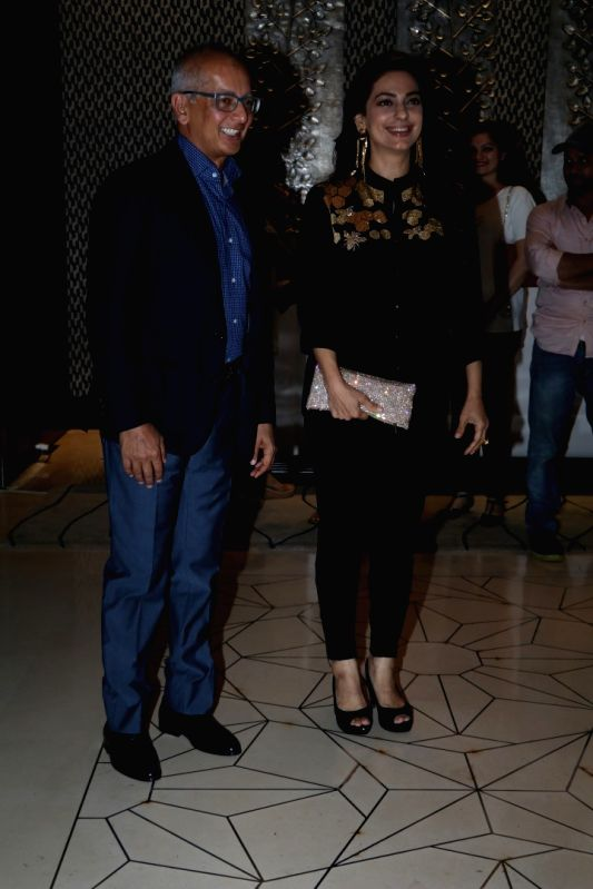 Actress Juhi Chawla with her husband Jay Mehta during the party orgnised by Tanishaa Mukerji on behalf of her Charitable Initiative NGO STAMP in Mumbai on July 23, 2016 - Juhi Chawla and Mehta