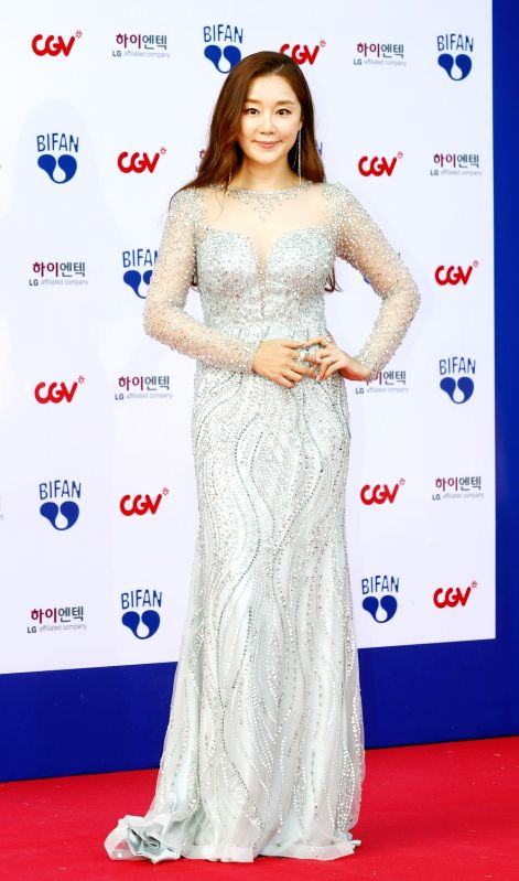 Actress Jung Jae-yun attends the opening ceremony of the Bucheon International Fantastic Film Festival (BIFAN) at Bucheon City Hall in Bucheon, Gyeonggi Province, on July 12, 2018. - Jung Jae
