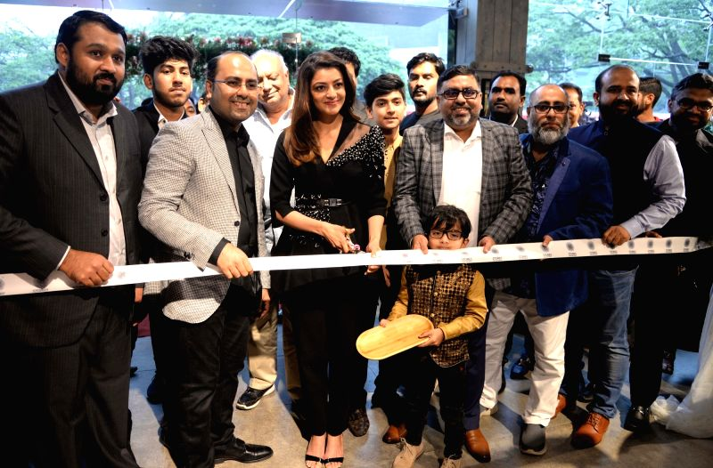 Actress Kajal Aggarwal at the launch Dubai based Bronet Group's global home concept showroom in Bengaluru on Aug 11, 2018. - Kajal Aggarwal