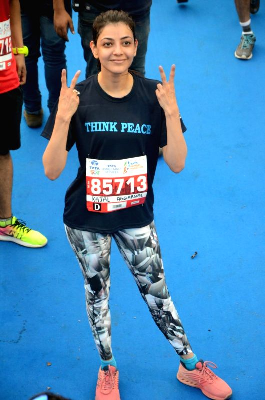Actress Kajal Aggarwal during Mumbai Marathon on Jan 21, 2018. - Kajal Aggarwal