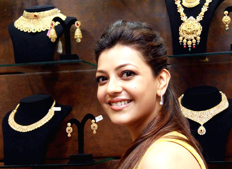 Actress Kajol Agarwal during the inauguration of gold jewellery show room at Koramangala, in Bangalore on June 21, 2014.