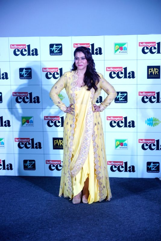 "Actress Kajol at the trailer launch of upcoming film ""Helicopter Eela"" in Mumbai, on Aug 5, 2018. - Kajol"