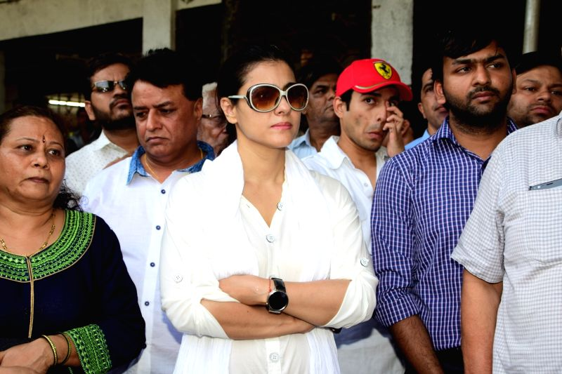 Actress Kajol during the funeral of actor Reema Lagoo in Mumbai, on May 18, 2017. - Kajol