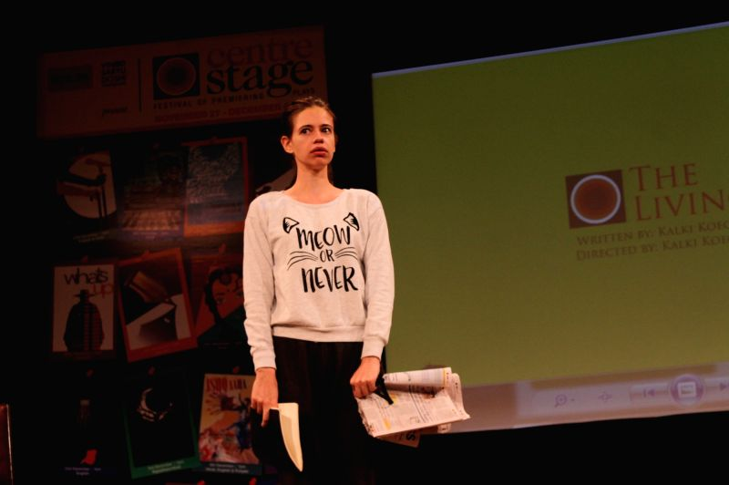 Actress Kalki Koechlin performs during a play `The Living Room` at NCPA in Mumbai on Nov 18, 2015.