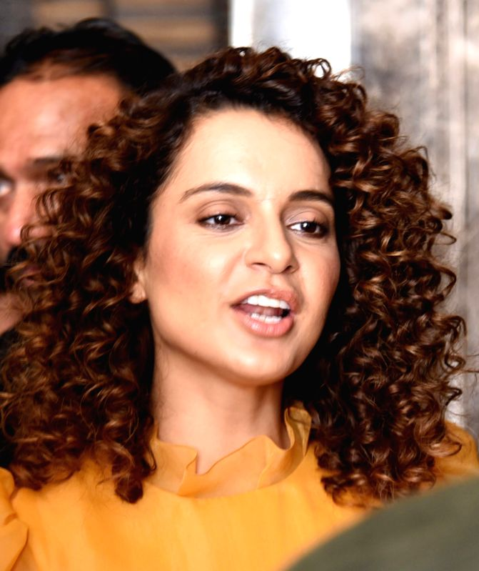 "Actress Kangana Ranaut addresses during a press conference to promote her upcoming film ""Simran"" in Bengaluru on Sept 12, 2017."