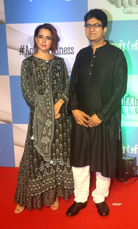 "Actress Kangana Ranaut and CBFC chief and lyricist Prasoon Joshi during screening of film ""Chalo Jeete Hai"", in Mumbai on July 28, 2018. - Kangana Ranaut and Prasoon Joshi"