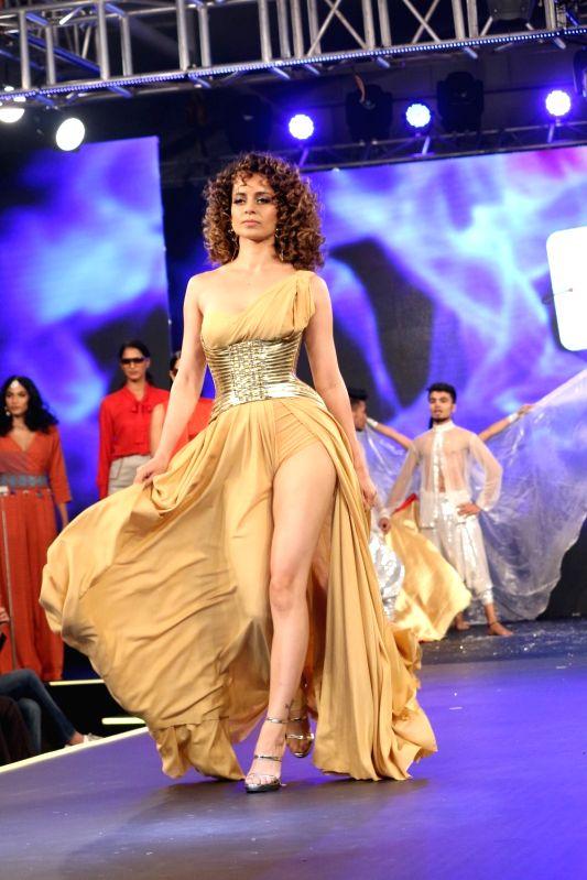 Actress Kangana Ranaut displays the creation of brand launched by Aditya Birla Group Liva Crème,  in Mumbai,  on April 21, 2017. - Kangana Ranaut