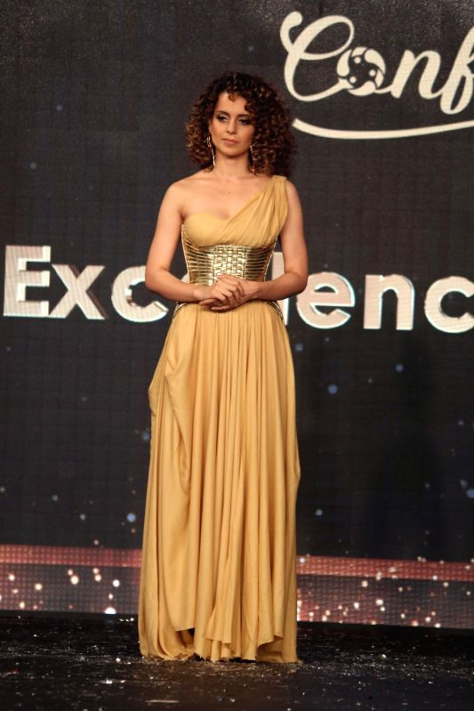Actress Kangana Ranaut displays the creation of brand launched by Aditya Birla Group Liva Crème,  in Mumbai,  on April 21, 2017. - Kangana Ranaut