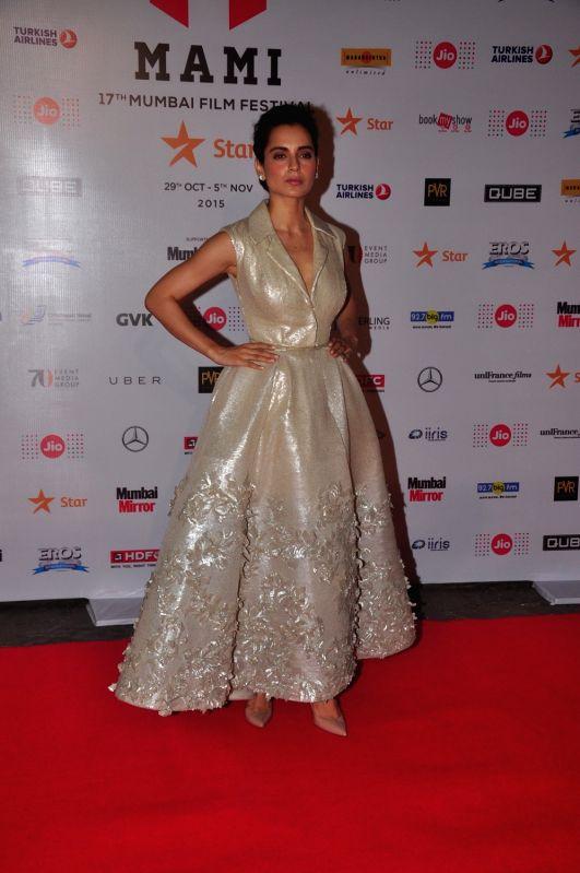 Actress Kangana Ranaut during Jio MAMI 17th Mumbai Film Festival Opening Ceremony in Mumbai on Oct 30, 2015. - Kangana Ranaut