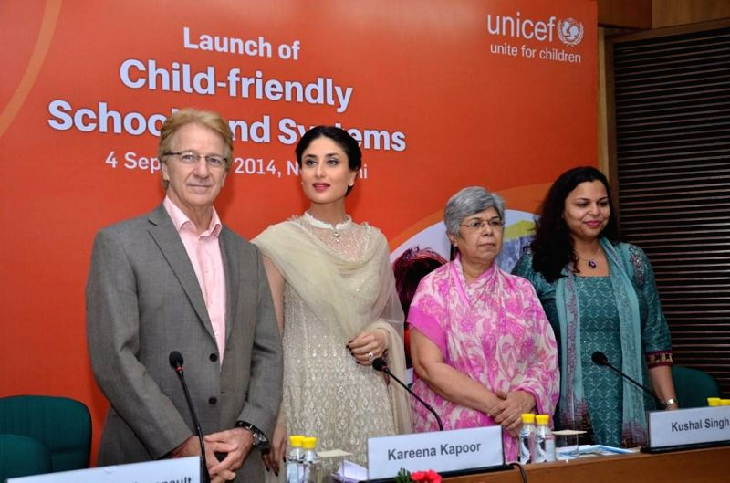 Actress Kareena Kapoor at the launch of Child-friendly school systems in New Delhi on Sept 4, 2014. - Kareena Kapoor