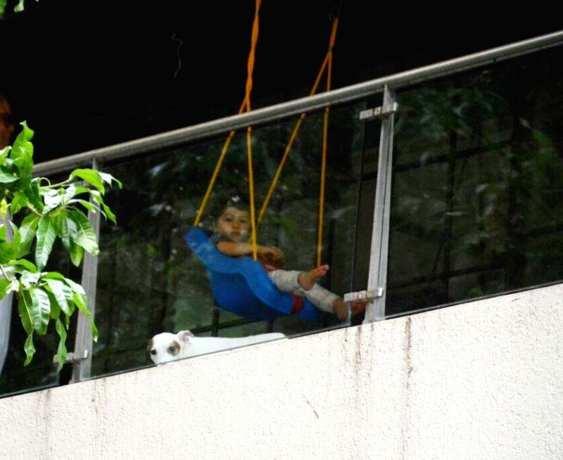 Actress Kareena Kapoor Khan's son Taimur seen at his residence in Mumbai on July 18, 2018. - Kareena Kapoor Khan