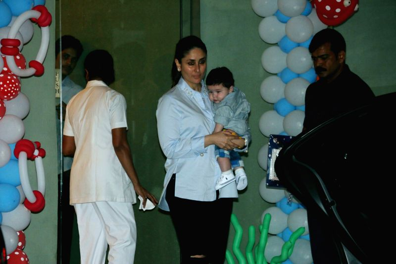 Kareena with son Taimur at Tusshar Kapoor son Laksshya's birthday party - Kareena Kapoor, Taimur Ali Khan and Tussar Kapoor