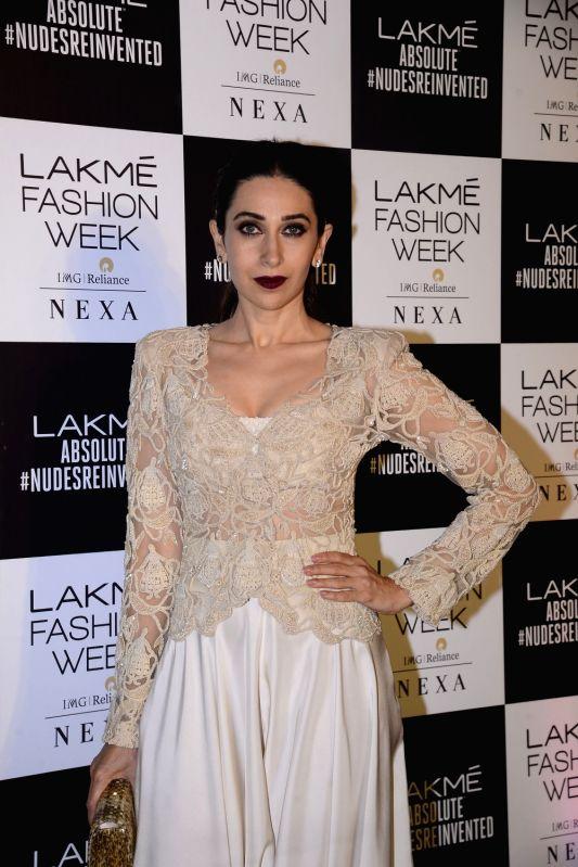 Actress Karisma Kapoor during the Lakme Fashion Week Summer/Resort 2018 in Mumbai on Feb 4, 2018. - Karisma Kapoor