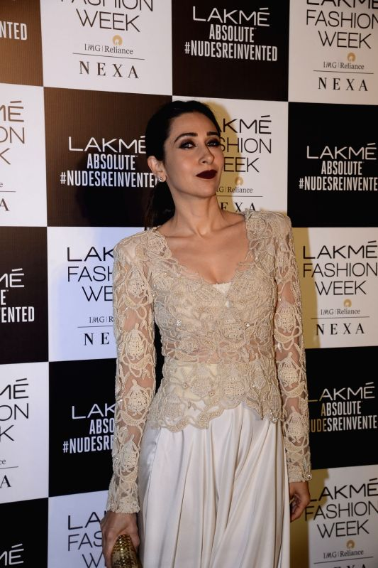 Actress Karisma Kapoor during the Lakme Fashion Week Summer/Resort 2018 in Mumbai on Feb 4, 2018. - Karisma Kapoor